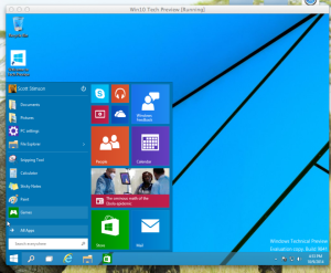 windows 10 desktop + Start menu